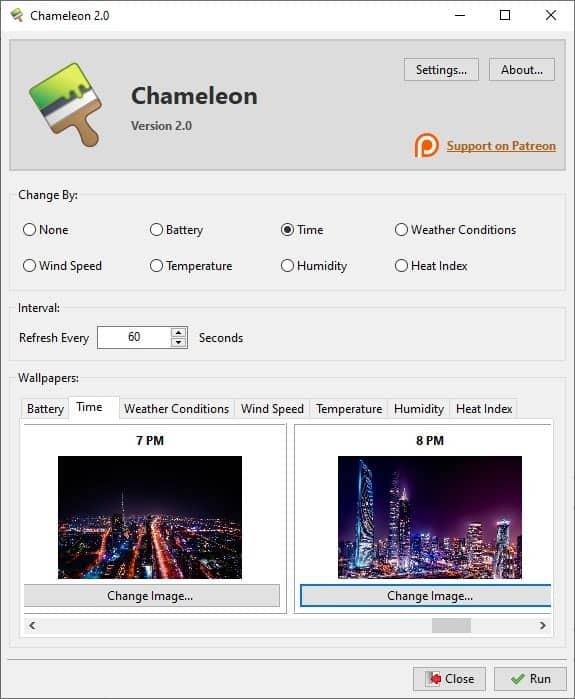 Chameleon time settings