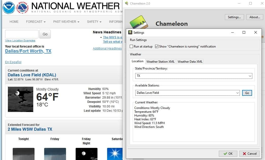 Chameleon weather settings