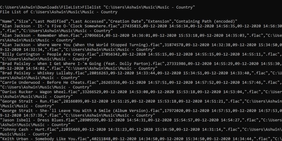 FileList is a command-line tool that allows you to export the contents of a folder to a CSV document