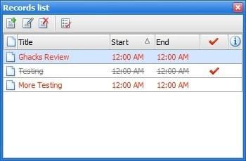 Interactive Calendar records list