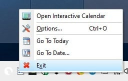 Interactive Calendar tray menu