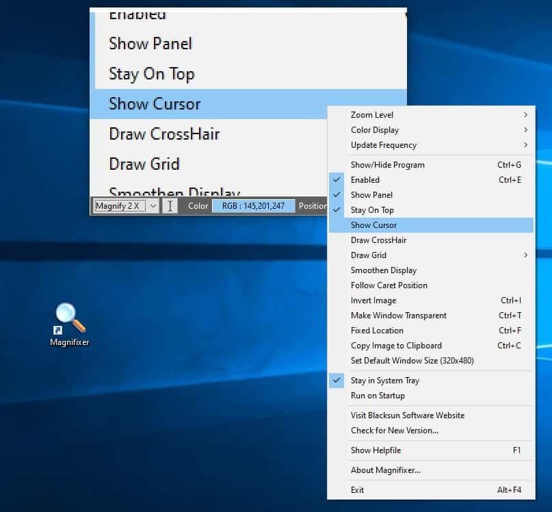 Magnifixer context menu
