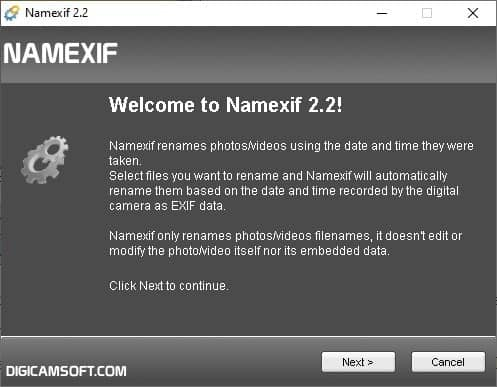 Namexif interface