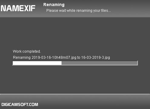 Namexif progress