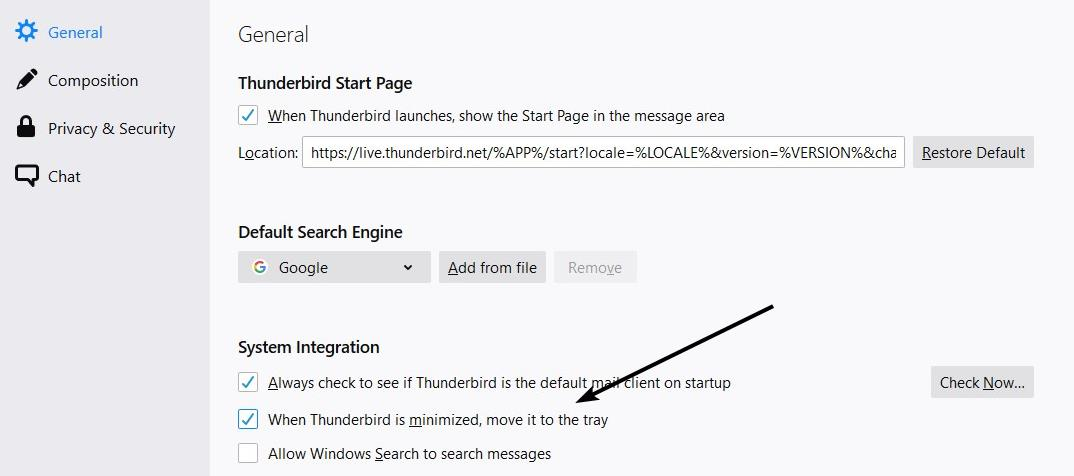 Thunderbird minimize to the tray