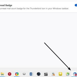 Windows Taskbar Unread Badge displays an icon to indicate the total number of unread mails in Thunderbird