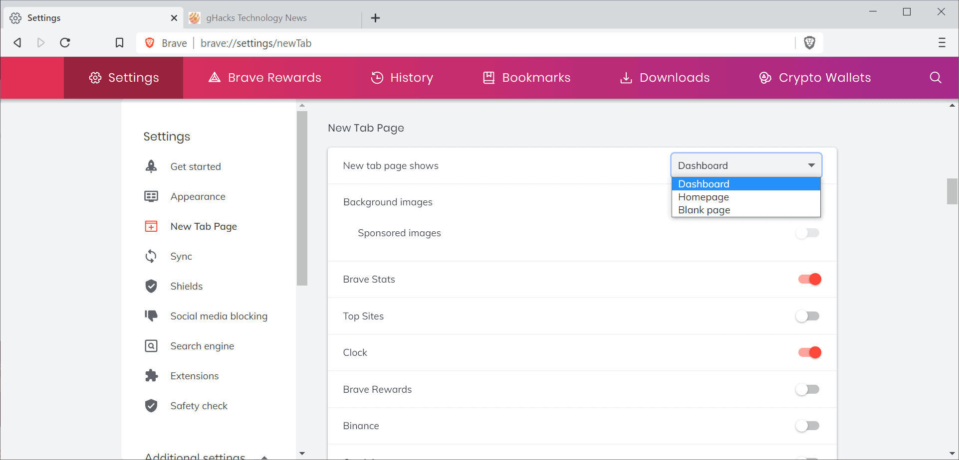 brave new tab page shows