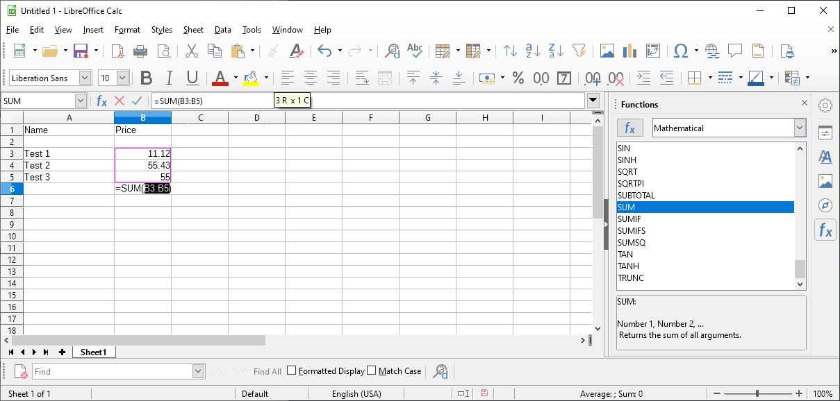 calc autosum numbers spreadsheet