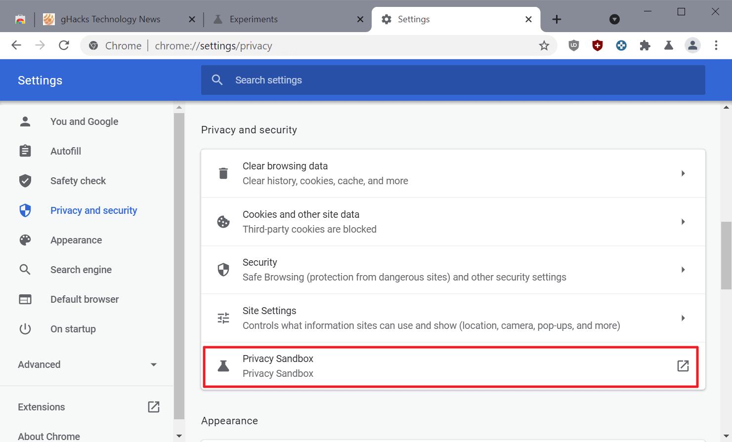 chrome-privacy sandbox settings