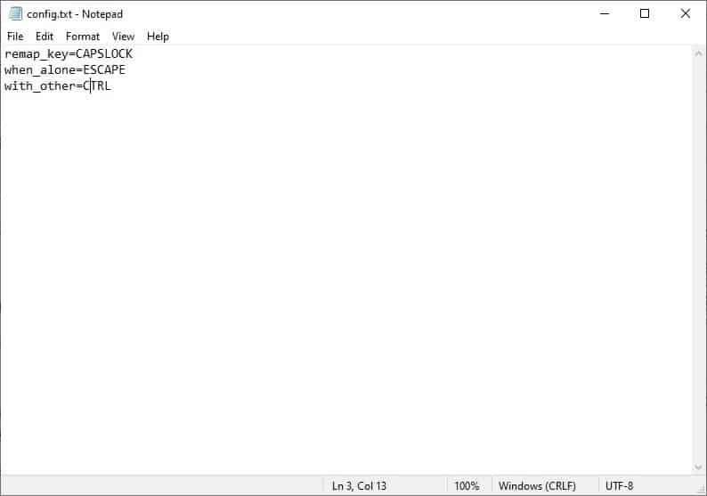 default settings Dual Key Remap