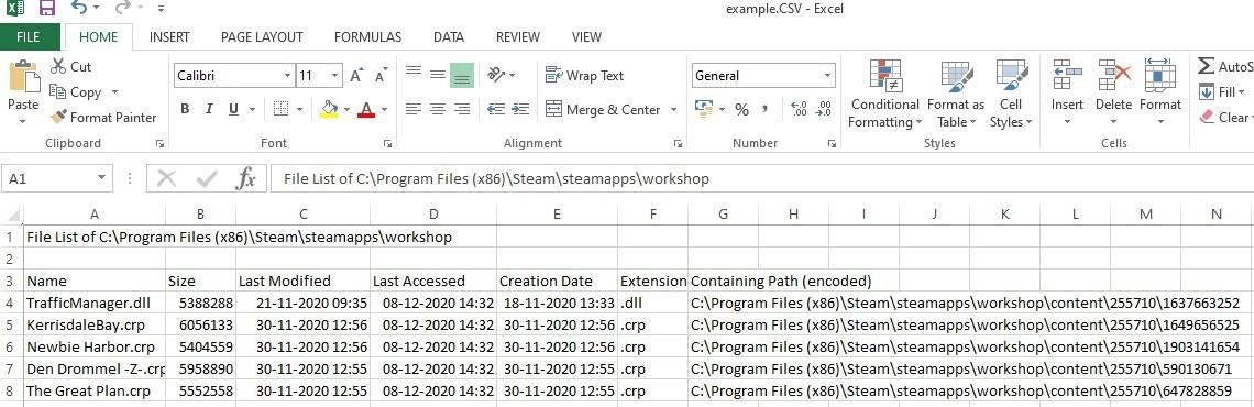 filelist custom filter result