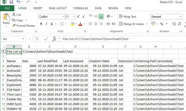 filelist export to csv