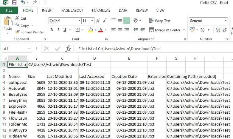 filelist export to csv
