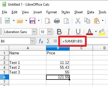 libreoffice calc manual sum function