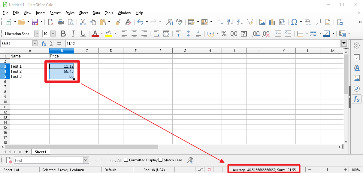 libreoffice calc sum after selection