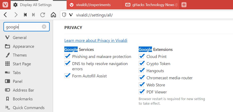 vivaldi privacy
