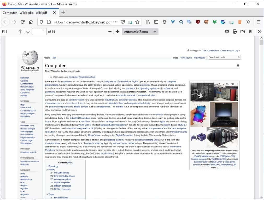 wkhtmltopdf version of the webpage