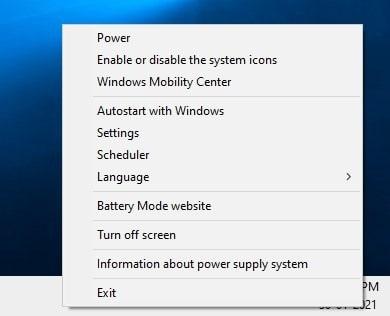 Battery Mode tray menu