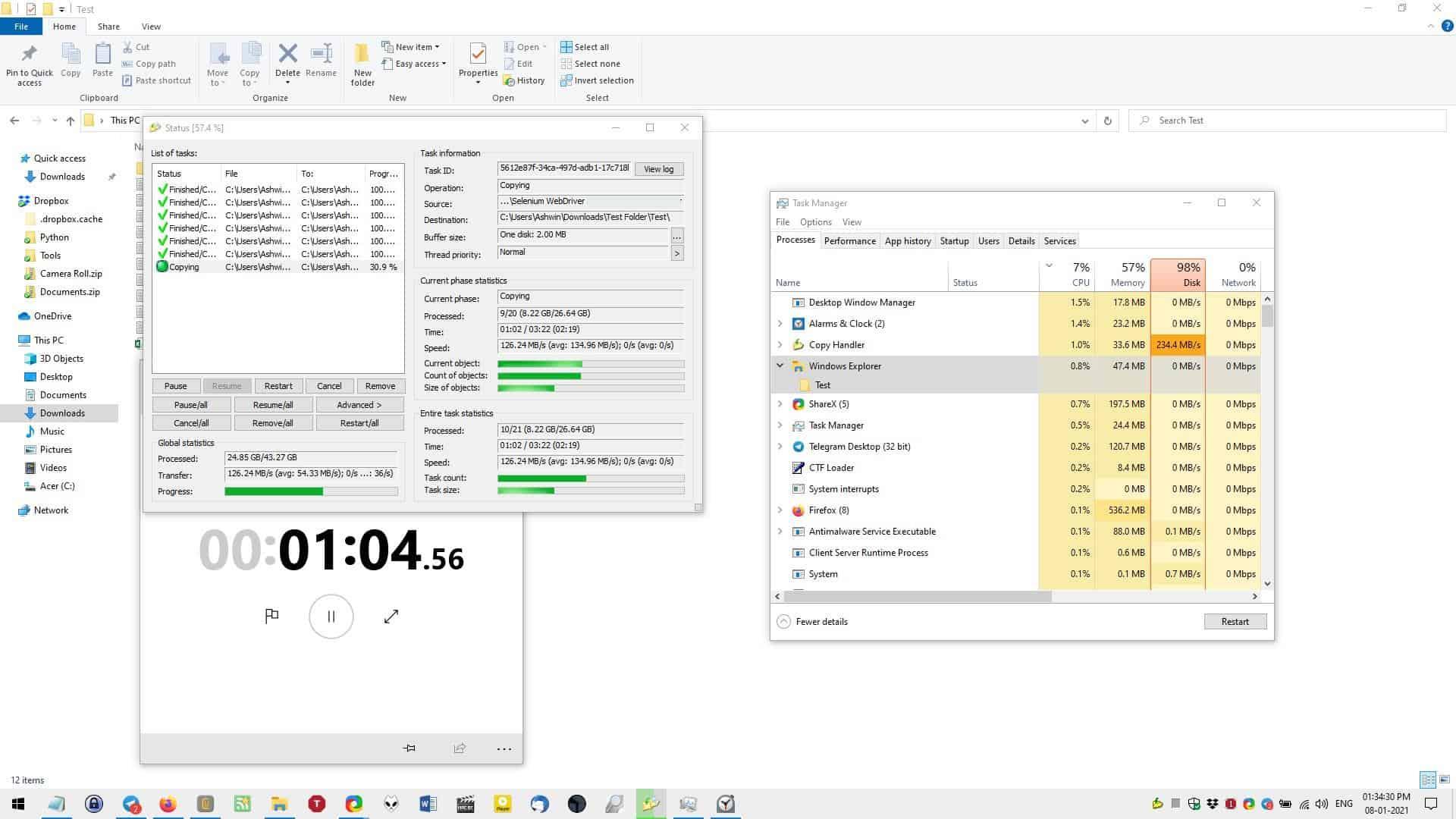 Copy Handler file copy test start