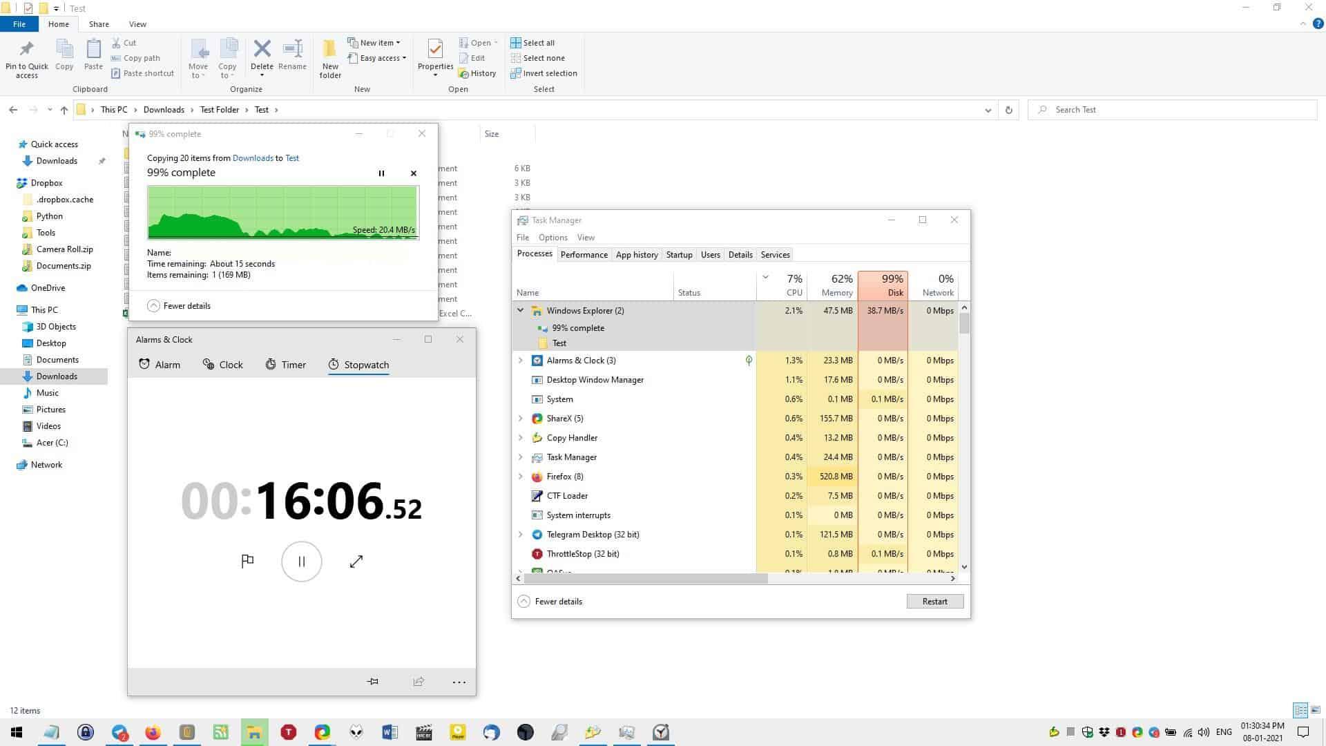 Explorer file copy test end