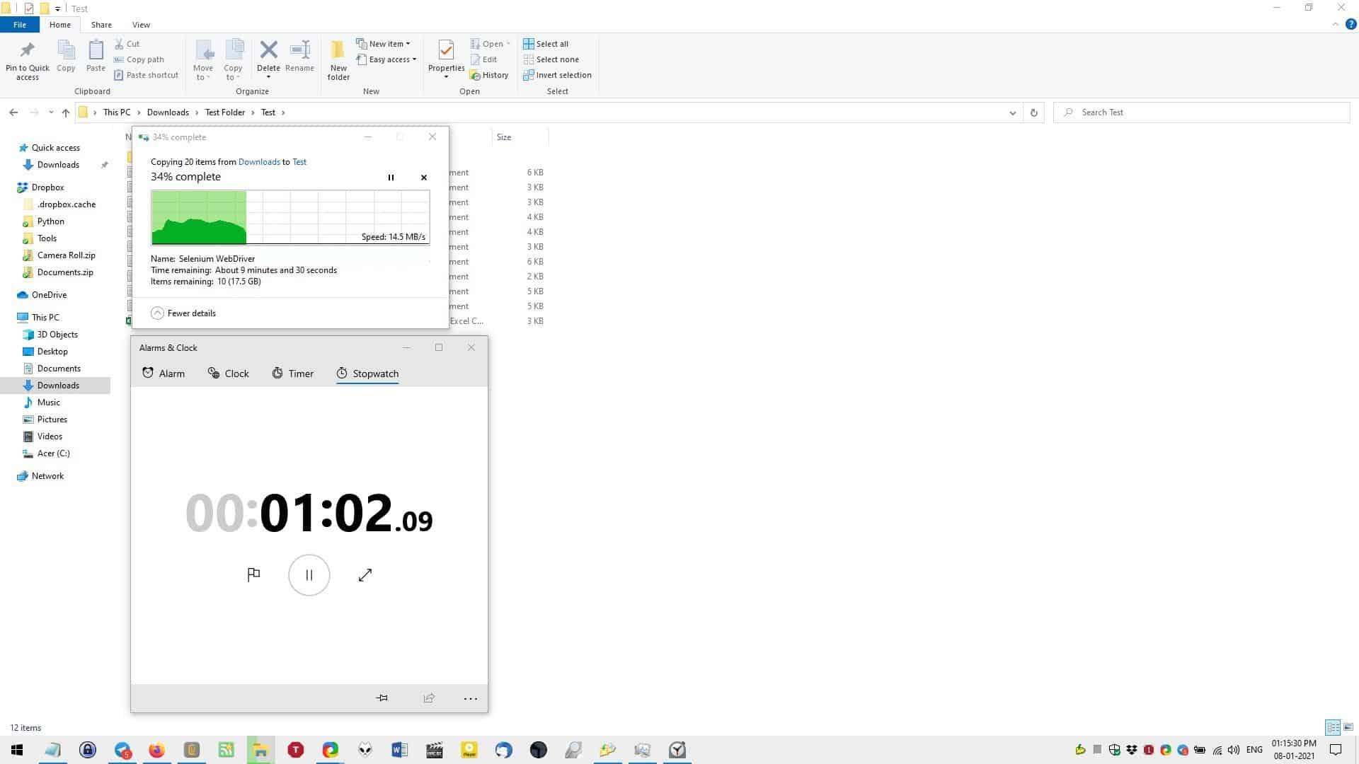 Explorer file copy test start