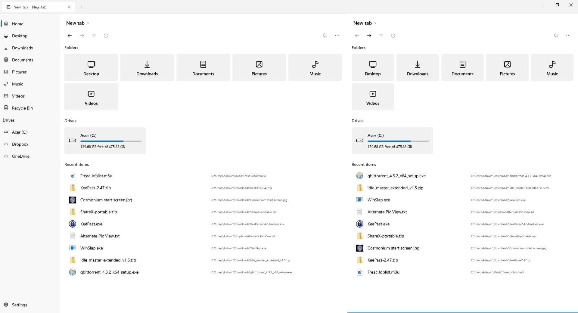Files Dual pane view