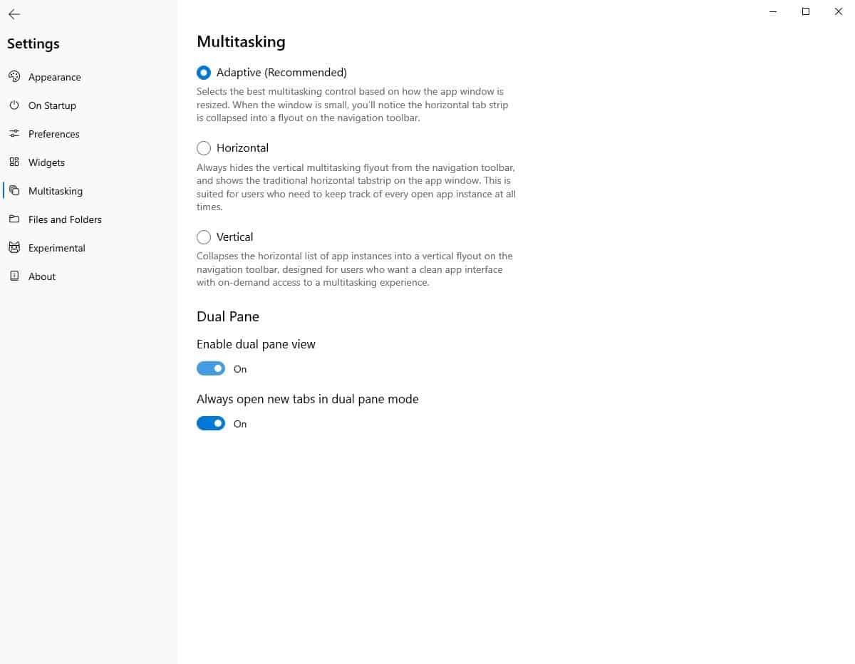 Files enable dual-pane view