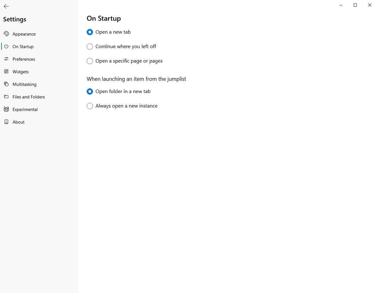 Files startup settings
