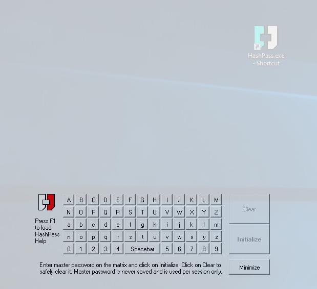 Hashpass matrix - dancing keyboard