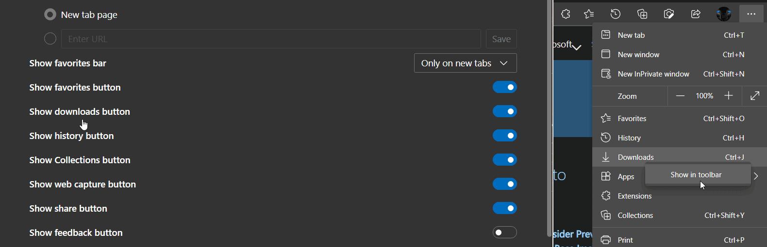 Microsoft Edge Downloads button