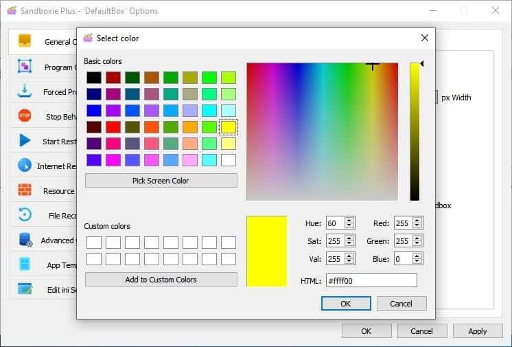 Sandboxie change border color