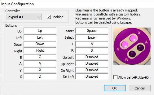 Snes9x keyboard control settings