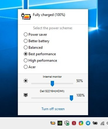 Switch power schemes with a hotkey, control the monitor's brightness with Battery Mode