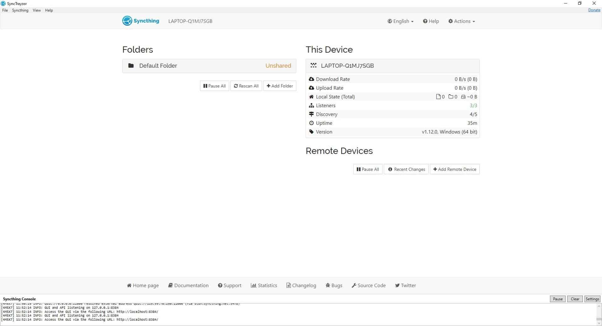 SyncTrazor interface