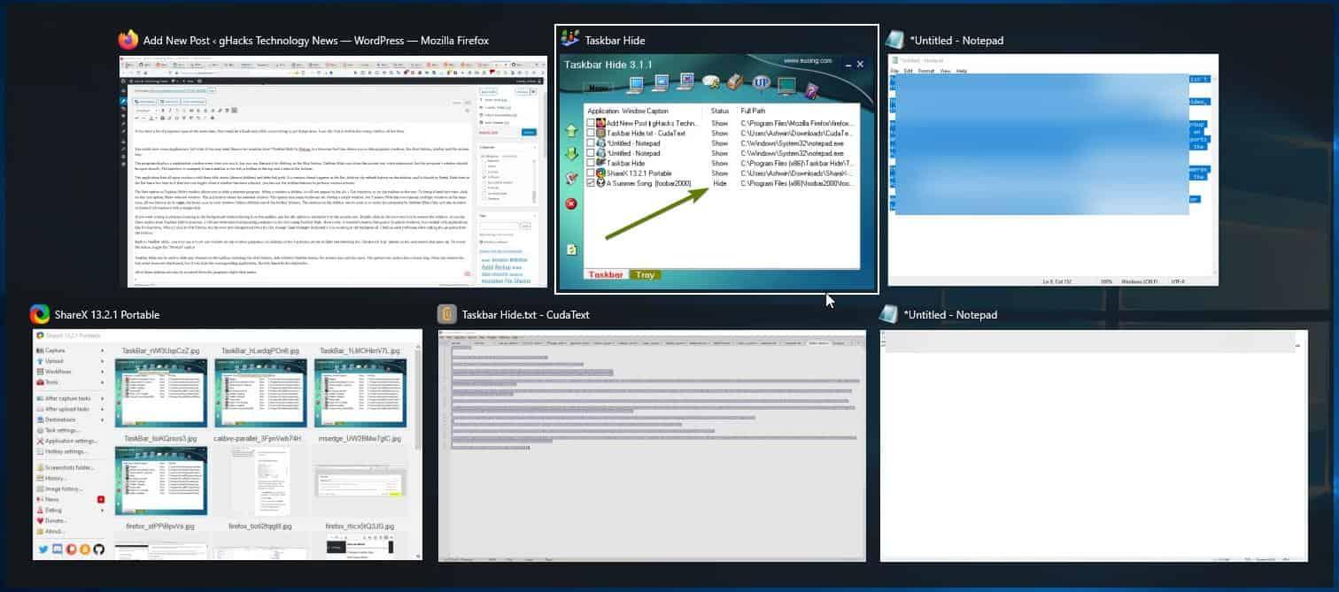 Taskbar Hide - hide program windows