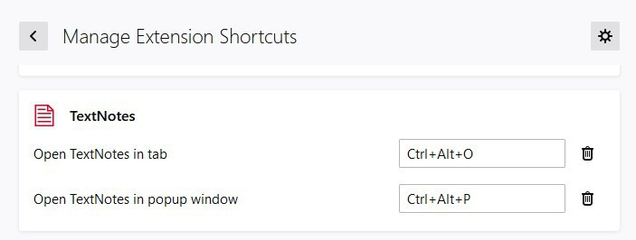 TextNotes keyboard shortcuts