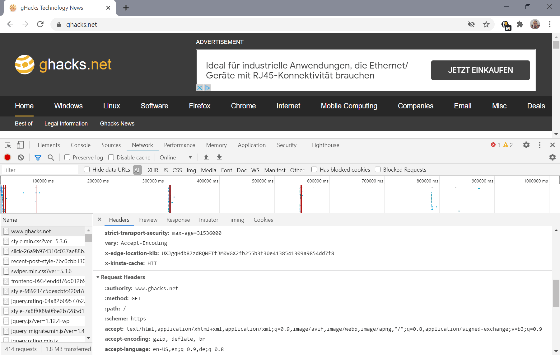 chrome https http connections