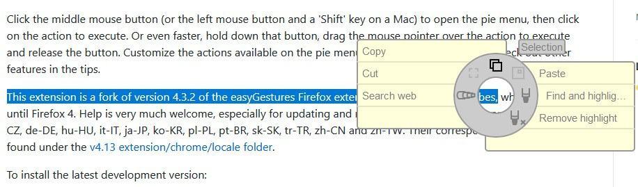 easygestures n contextual menu - text selection