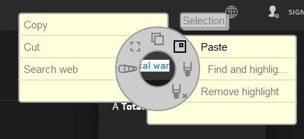easygestures n contextual menu - text