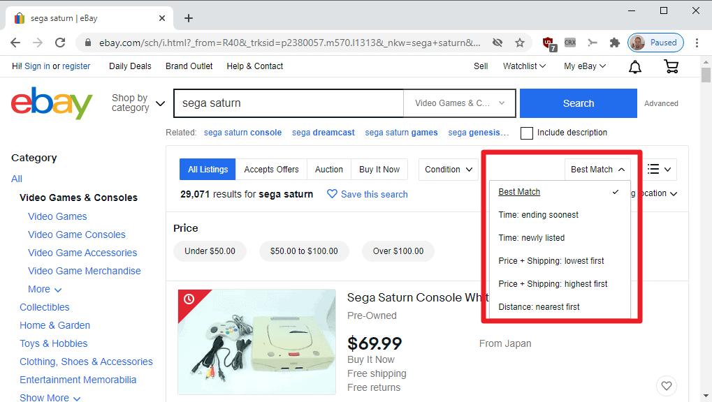 ebay sort results