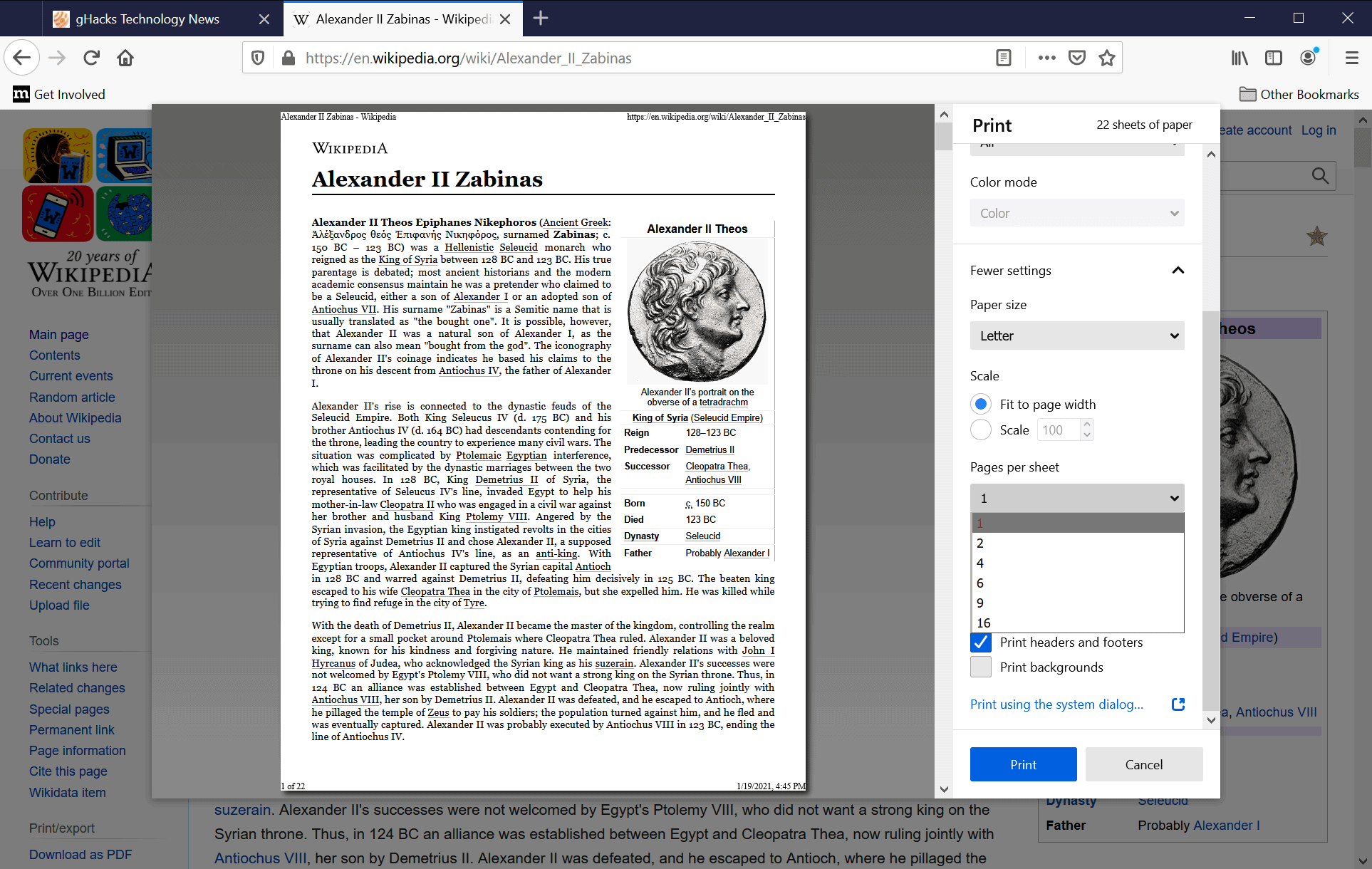 firefox-print multiple pages per sheet