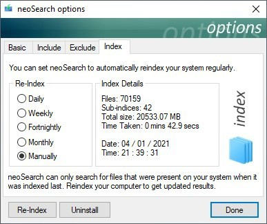 neoSearch index default processing speed