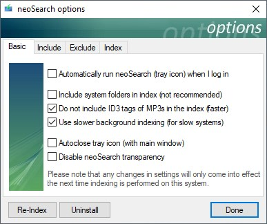 neoSearch options basic