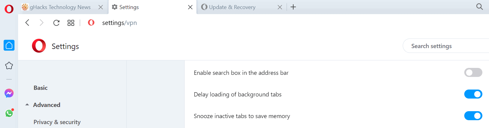 opera snooze inactive tabs