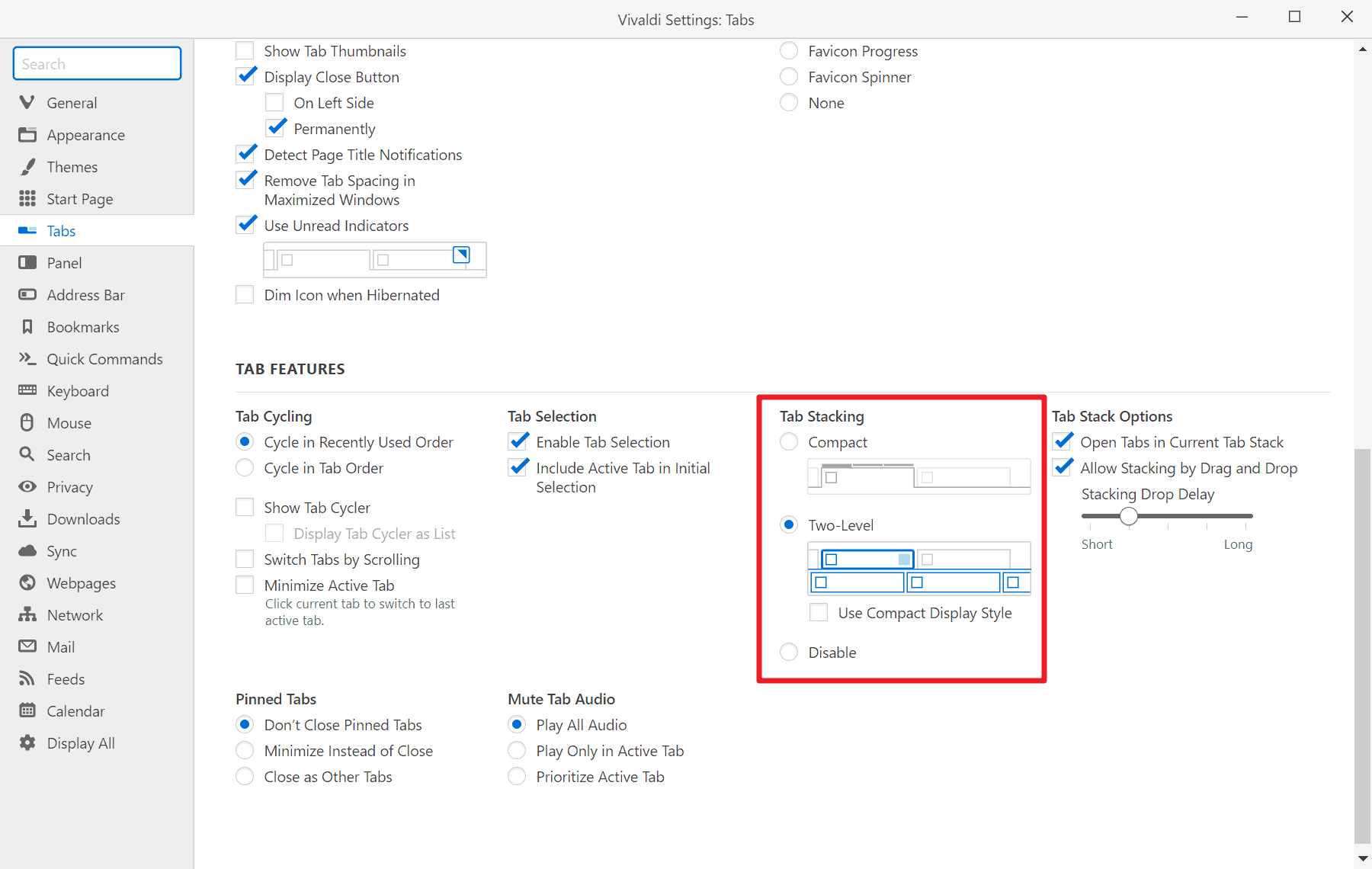 vivaldi tab stacking settings