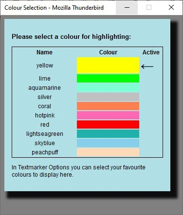 Change the color in textmarker