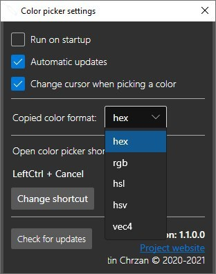 ColorPicker interface