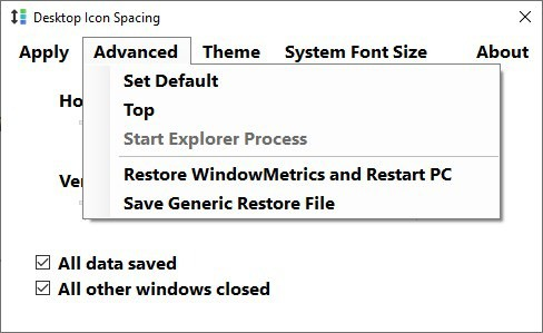 Desktop Icon Spacing settings