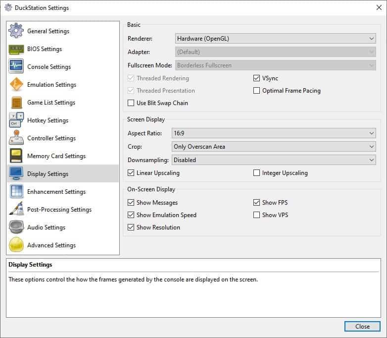 DuckStation display settings