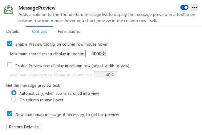 MessagePreview thunderbird extension options